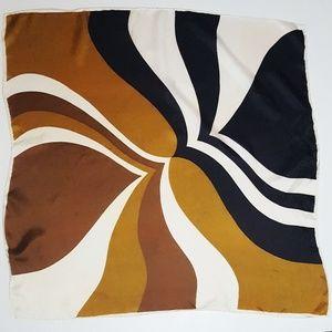 Vintage Black & Tan Mod Print Square Scarf